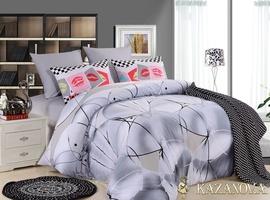 KAZANOV.A Граффити (антрацит) абстракция Комплект постельного белья евро, 6 предметов