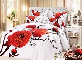 KAZANOV.A Акира (белый) цветы Комплект постельного белья семейный, 7 предметов