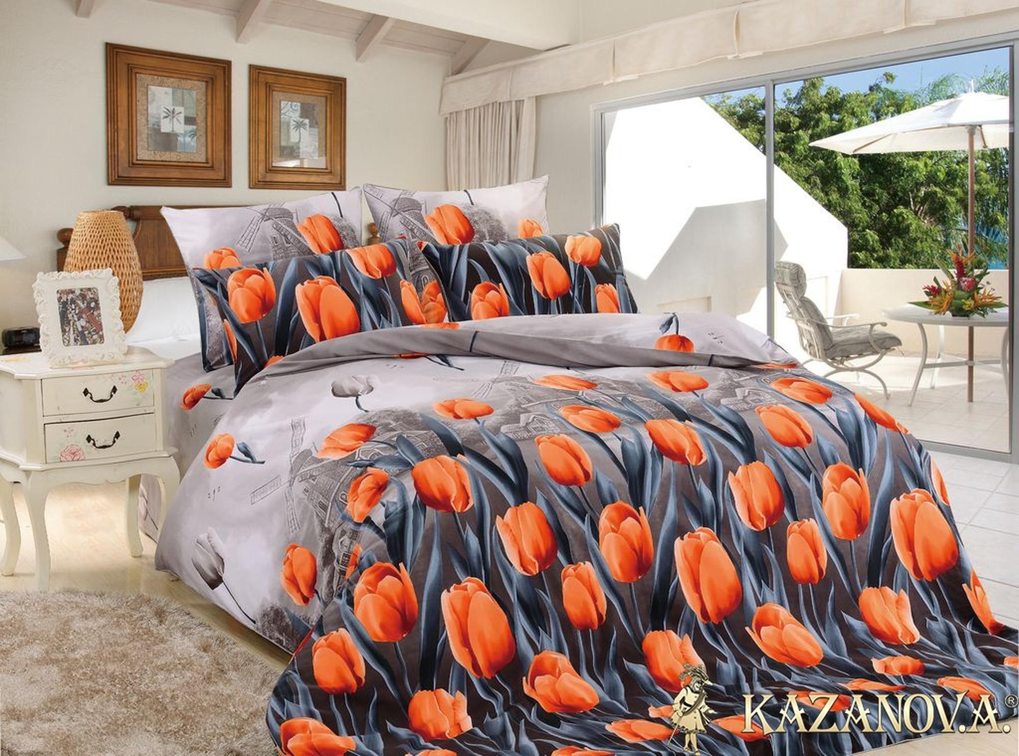 KAZANOV.A Аллегретто (антрацит) цветы Комплект постельного белья евро, 6 предметов