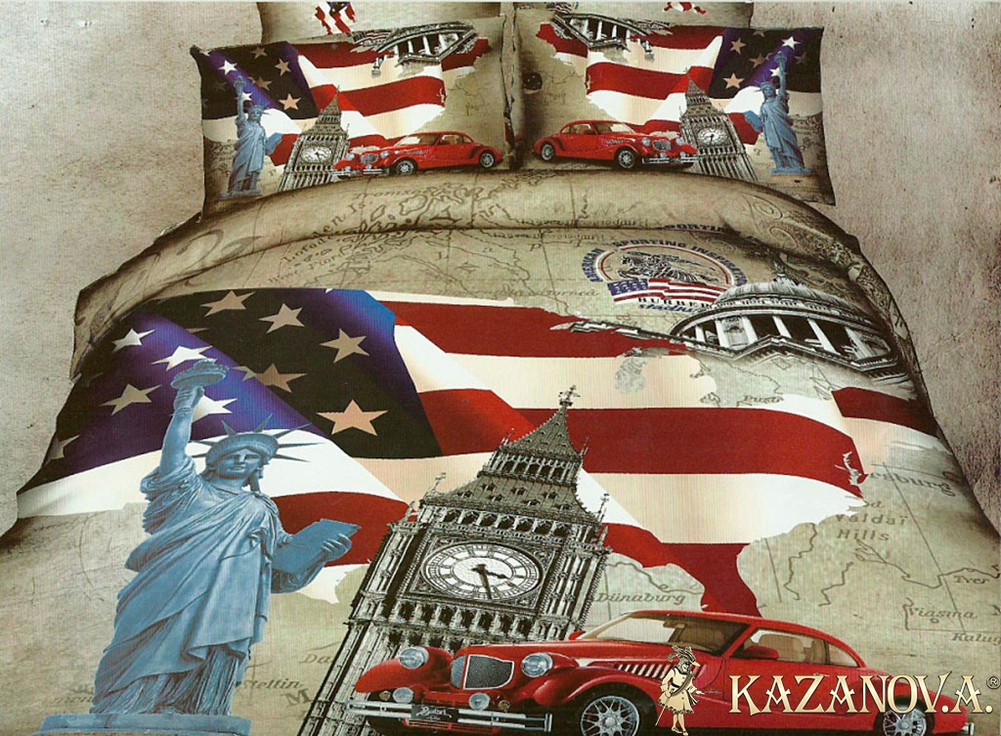 KAZANOV.A American Life (бежевый) абстракция  Комплект постельного белья евро, 6 предметов