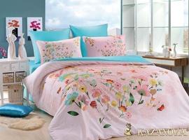 KAZANOV.A Бонжур (персик) цветы Комплект постельного белья евро, 6 предметов