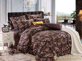 KAZANOV.A Даяна (лила) цветы классика Комплект постельного белья семейный, 7 предметов