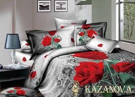KAZANOV.A Dela Rose (антрацит) цветы Комплект постельного белья полутороспальный, 4 предмета