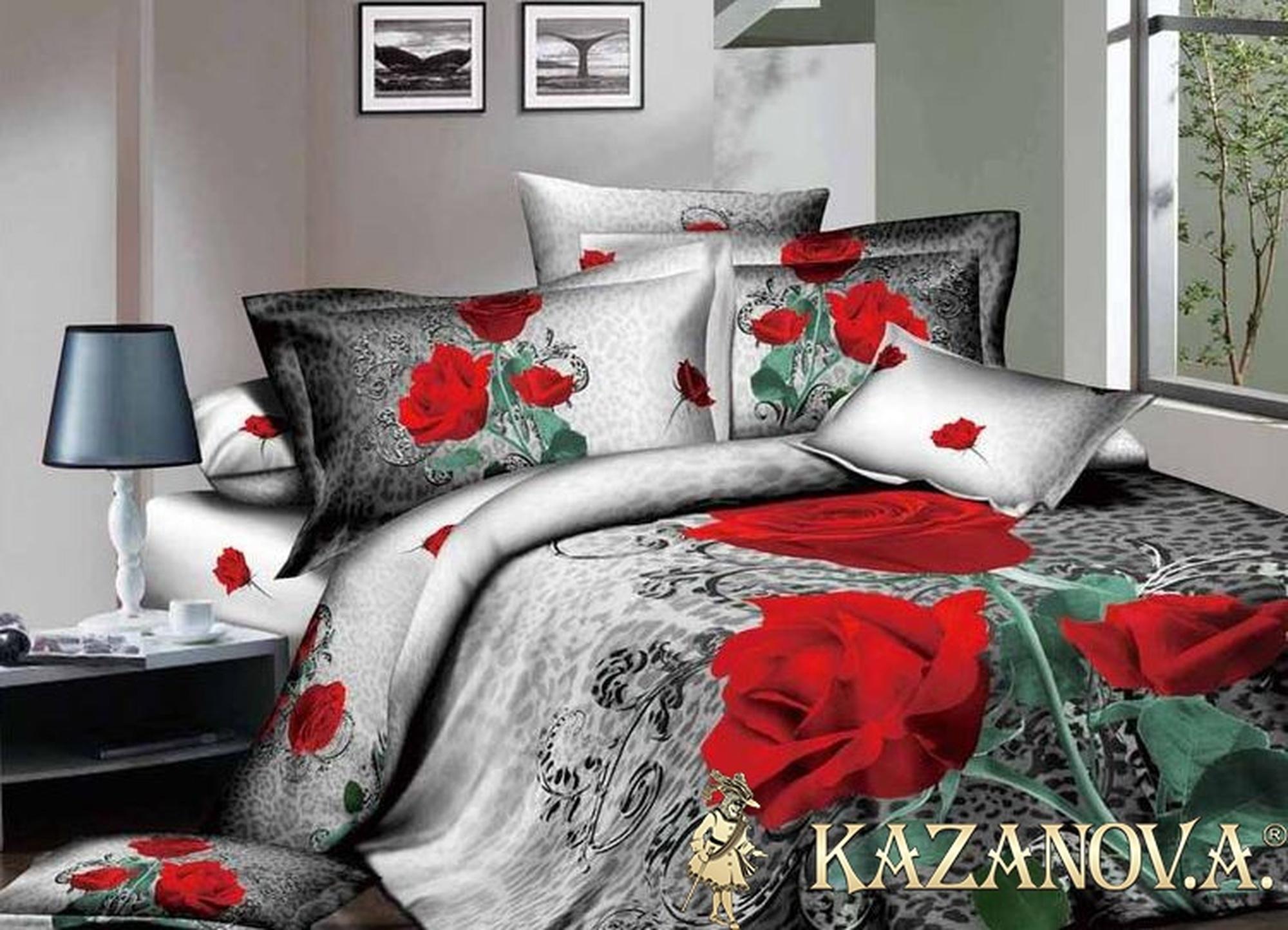 KAZANOV.A Dela Rose (антрацит) цветы Комплект постельного белья евро, 6 предметов