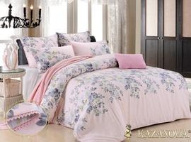 KAZANOV.A Элизабет Серебро (розовый) цветы Комплект постельного белья евро, 6 предметов
