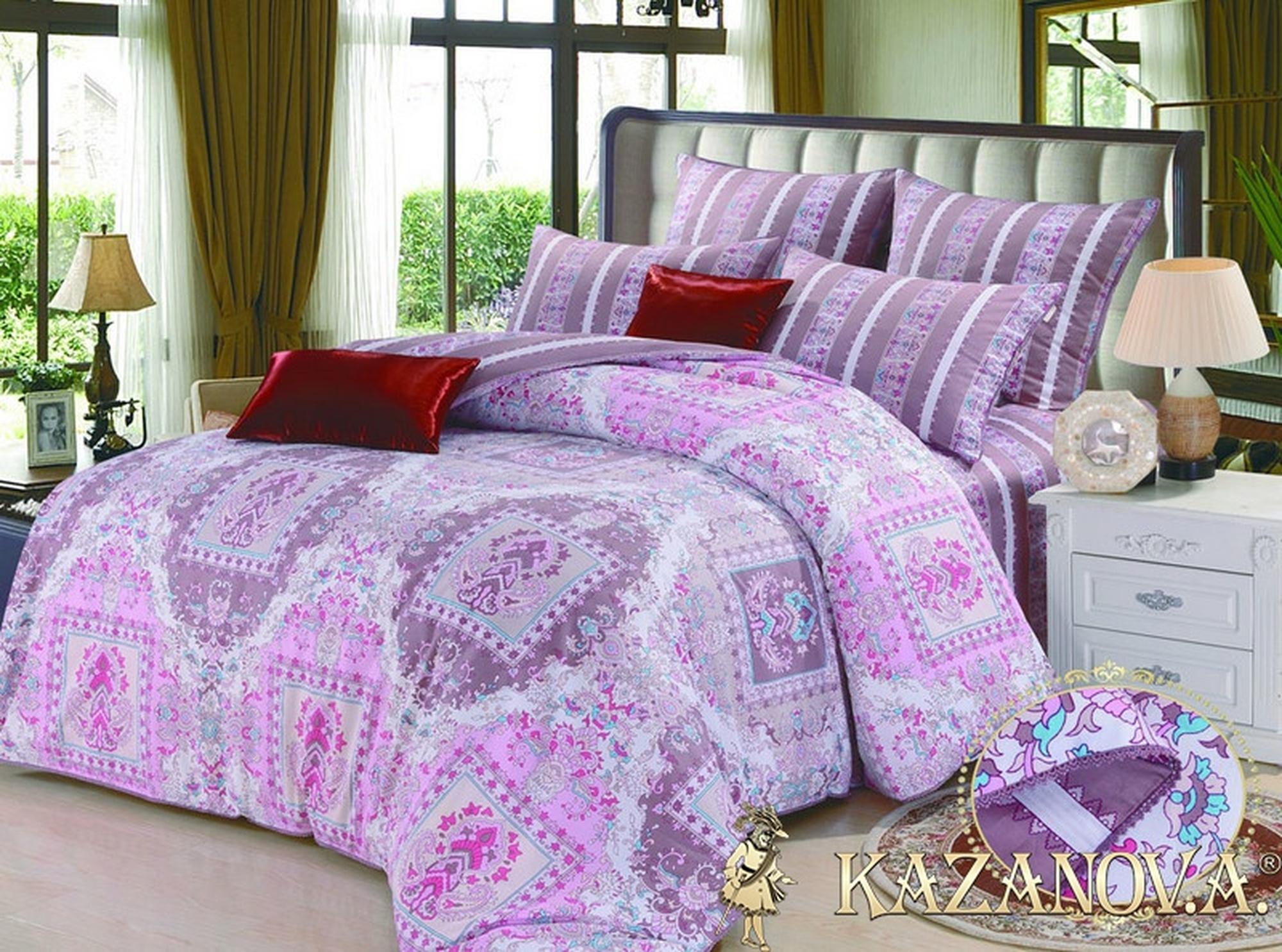 KAZANOV.A Ely Fly Cappucino (розовый) классика Комплект постельного белья евро, 6 предметов