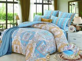 KAZANOV.A Ely Fly Indigo (синий) классика Комплект постельного белья евро, 6 предметов