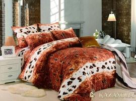 KAZANOV.A Гепард (бежевый) энимал шкуры Комплект постельного белья семейный, 7 предметов