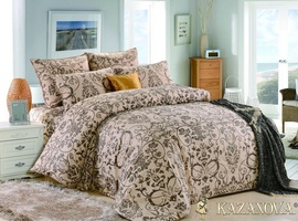 KAZANOV.A Герда (бежевый) классика Комплект постельного белья семейный, 7 предметов