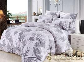KAZANOV.A Гипюр Сильвер (антрацит) абстракция Комплект постельного белья евро, 6 предметов