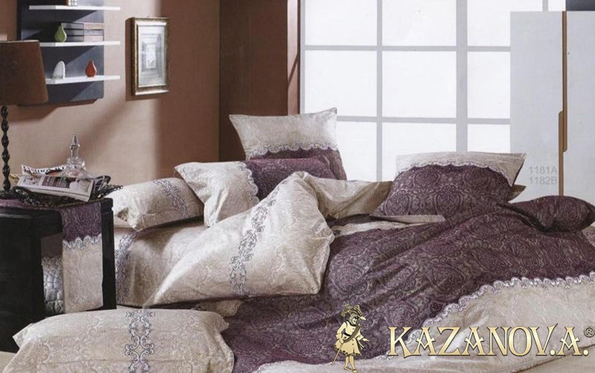 KAZANOV.A Камиль (бежево-фиолетовый) абстракция Комплект постельного белья евро, 6 предметов