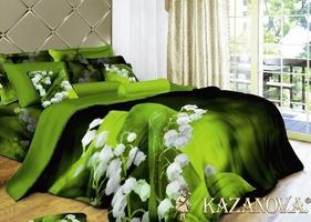 KAZANOV.A Ландыши (зеленый) цветы Комплект постельного белья евро, 6 предметов