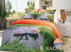 KAZANOV.A Лебеди Рассвет (зеленый) энимал Комплект постельного белья евро, 6 предметов