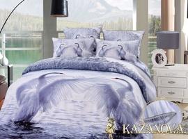 KAZANOV.A Лебеди Серебро (белый) энимал Комплект постельного белья евро, 6 предметов