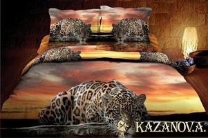 KAZANOV.A Лео Закат (коричневый) энимал Комплект постельного белья евро, 6 предметов