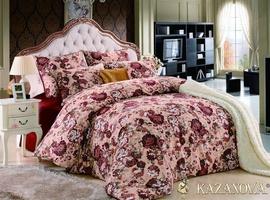 KAZANOV.A Леона (бордо) цветы классика Комплект постельного белья евро, 6 предметов