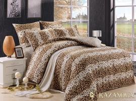 KAZANOV.A Леопард Ашера (бежевый) энимал шкуры Комплект постельного белья полутороспальный, 4 предмета