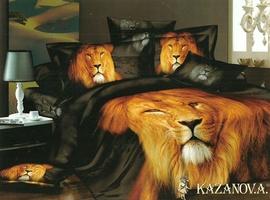 KAZANOV.A Лев (черный) энимал Комплект постельного белья евро, 6 предметов