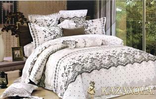 KAZANOV.A Ля Франсе (белый) абстракция  Комплект постельного белья евро, 6 предметов