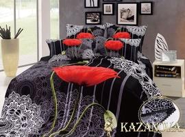 KAZANOV.A Маки Кружево (черный) цветы Комплект постельного белья евро, 6 предметов