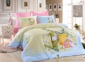 KAZANOV.A Монмартр (голубой) подарочный Комплект постельного белья евро, 6 предметов