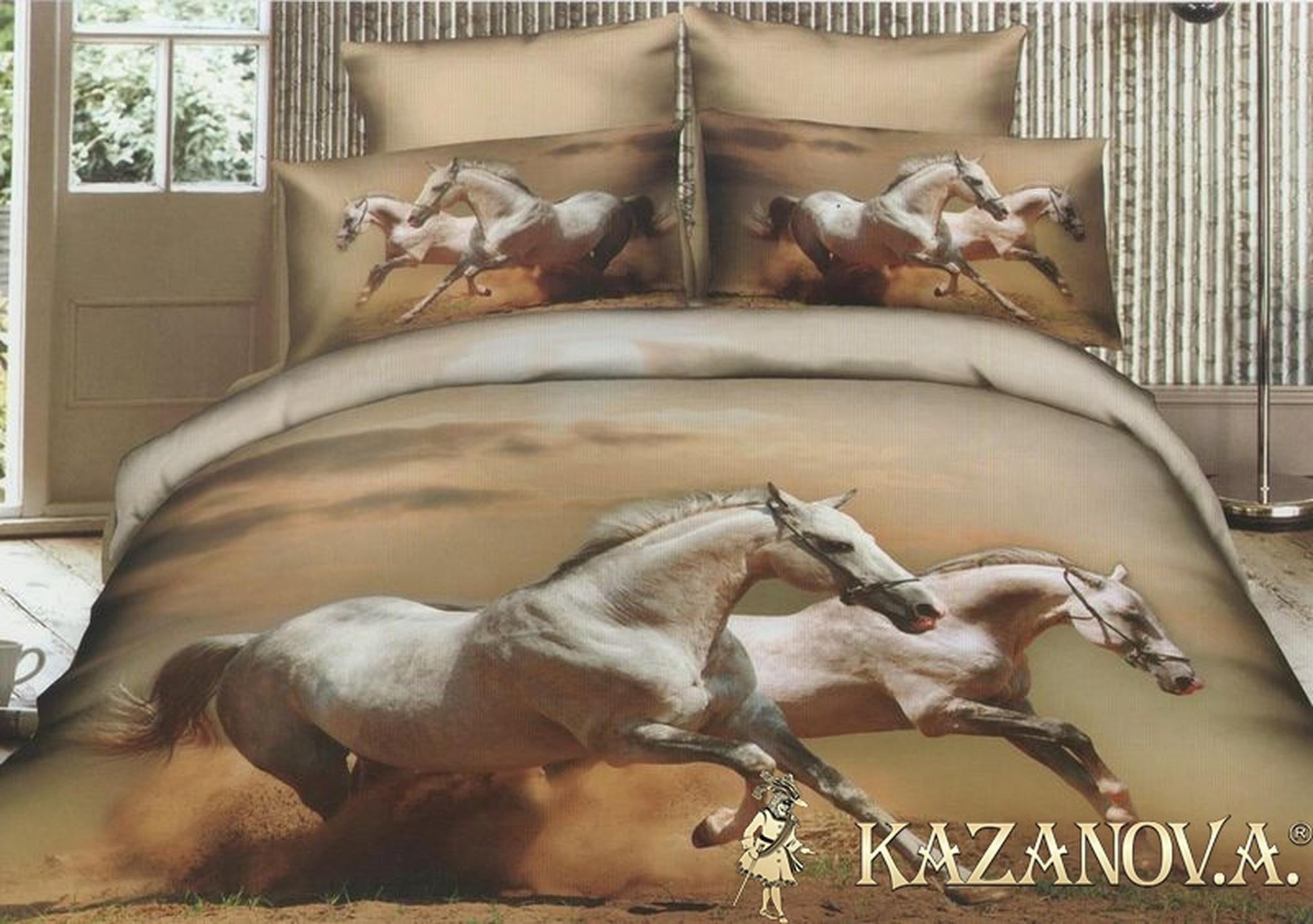 KAZANOV.A Мустанг (бежевый) энимал Комплект постельного белья евро, 6 предметов