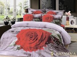 KAZANOV.A Роза Дождь (белый) цветы Комплект постельного белья евро, 6 предметов