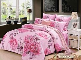 KAZANOV.A Роза Гобелен (розовый) цветы Комплект постельного белья полутороспальный, 4 предмета