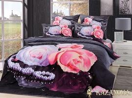 KAZANOV.A Роза Жемчуг (антрацит) цветы Комплект постельного белья евро, 6 предметов