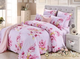 KAZANOV.A Розы Ангелика (розовый) цветы Комплект постельного белья евро, 6 предметов