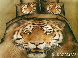 KAZANOV.A Тигр (кофейный) энимал Комплект постельного белья евро, 6 предметов