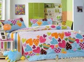 KAZANOV.A Валентинки (розово-голубой) абстракция Комплект детского постельного белья, 4 предмета