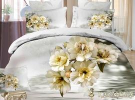 KAZANOV.A Ванильное утро (молочный) цветы Комплект постельного белья семейный, 7 предметов